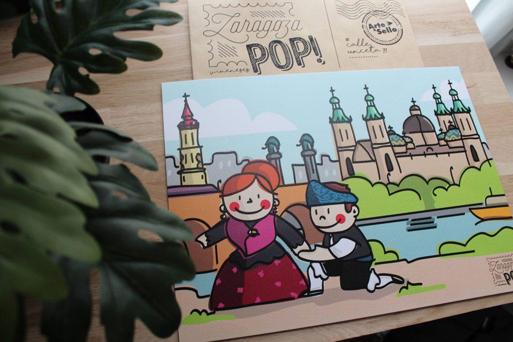 Ilustración de los baturros enamorados en Zaragoza